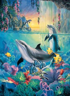 Dolphin Falls - 500+ pieces. Extra large piece size for easy handling. Finished size: 19.25 x 26.5. Art by Sherry Vintson.Sunsout puzzles are 100% made in the USAEco-friendly soy-based inksRecycled boardsNot sold in mass-market stores