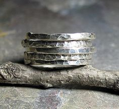Stacking Rings Sterling Silver Hammered Textured Skinny Rustic . I love hammered silver!