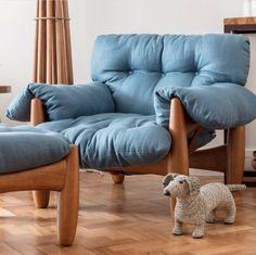 Mole armchair and ottoman in denim fabric. Available at EPSASSO. Midcentury modern Brazilian design.