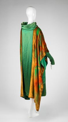 Paul Poiret (French, 1879-1944), Dress with Attached Wrap, ca. 1925. Silk satin weave with painted velvet decoration. Center back length: 113 cm (44 1/2 inches). Gift of the Estate of Mrs. Edith Stuyvesant Vanderbilt Gerry 59.031.3. RISD Museum, Providence, RI.