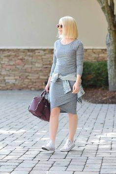 Nordstrom Ruched Long Sleeve Dress - Poor Little It Girl. Grey knee-high dress+white sneakers+light denim jacket+burgundy handbag+sunglasses. Spring Casual Outfit 2017