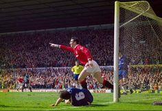 Man Utd 3 Chelsea 0. April 1993. Eric Cantona scored as leaders Man Utd beat Chelsea at Old Trafford
