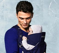 Stokke MyCarrier baby carrier in Deep Blue color – Three ergonomic babywearing positions. Comfortable & secure!
