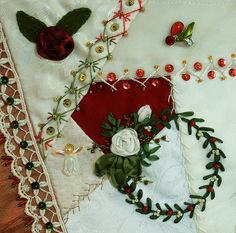 crazy quilting, christmas embroidery