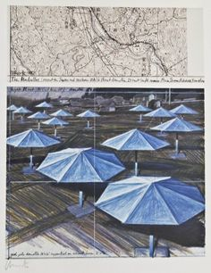 Jeanne-Claude Christo (b.1935 NY) Blue ''The Umbrellas (Project for Japan and Western USA)'' 1987