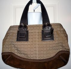COACH F10928 Brown Tote Shoulder Bag Canvas Leather Straps #Coach #ShoulderBag