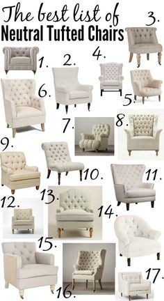 The ULTIMATE list of the best neutral tufted chairs from high to low price every size and shape in between!