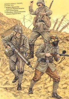 DEUTSCHES HEER - Sturmtruppen - 1 Sergente (Bayerische), Infanterie regiment Kronprinz - 2 Mitragliere - 3 Unteroffizier, Niederschlesicher Infanterie - 51°Regiment.