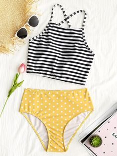Striped Polka Dot High Waisted Bikini Set - YELLOW S