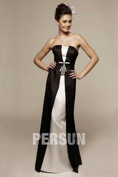 Robe demoiselle d honneur noire et blanche longue élégante Ligne A bustier 83ed548c2c8c