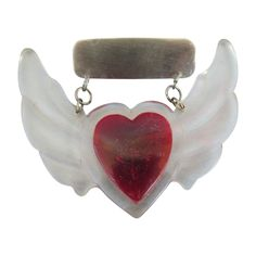 VINTAGE  WWII Sweetheart Jewelry  Lucite and Heart and Wings