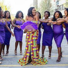 African Wedding Attire, African Attire, Bridal Squad, Ghana Wedding, African Fabric, Photos, Chic, Purple, Instagram