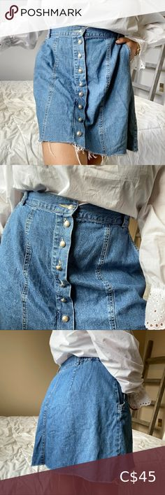 Vintage High Waisted Jean Front Button Skirt Perfect Condition! Jeans Suede Skirt, Faux Leather Skirt, Fitted Skirt, Pleated Midi Skirt, Golf Skirts, Mini Skirts, Gold Sequin Skirt, Bohemian Maxi Skirt, Button Skirt