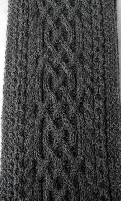 Dark Grey hand knitted men long scarf with celtic cable pattern MADE TO ORDER. $101.00, via Etsy.
