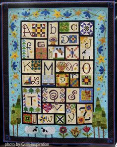 """A to Z for Ewe and Me, 79 x 90"""", by Carolyn A. Hudson. Pattern by Janet Stone. Best of Country award for Canada, 2016 PIQF, photo by Quilt Inspiration"""