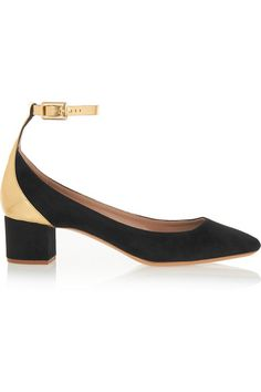Chloé | Suede and mirrored-leather pumps | NET-A-PORTER.COM