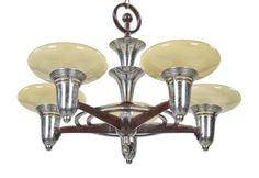 c. 1920's antique american art deco depression era five light machine age interior residential ceiling fixture with original custard glass bowl shades - Furniture - Products
