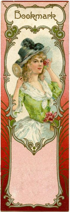 Lovely Vintage Bookmark Image!   Featured here is a pretty, and useful, piece of Paper Ephemera. This cute bookmark shows a beautiful woman on the front of it, inside of a fancy frame. You can print this out onto some card stock and use it in your favorite book!