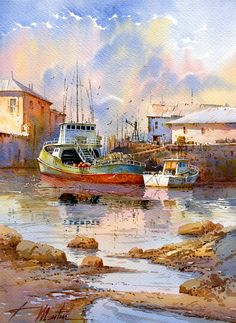 Spanish watercolorist Martin Faustino Gonzalez (Faustino Martin Gonzalez) feels a special passion for the image of the transition states of nature: the change of the seasons or the time of day. Watercolor Landscape, Watercolour Painting, Painting & Drawing, Landscape Paintings, Watercolor Design, Drawing Artist, Watercolours, Artist Art, Seaside Art