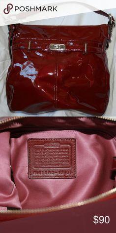 b23b4f3efc49 Coach Chelsea Patent Leather Hobo Coach G1193 17861 Chelsea Patent Leather  Hobo Bag Purse Wine Red
