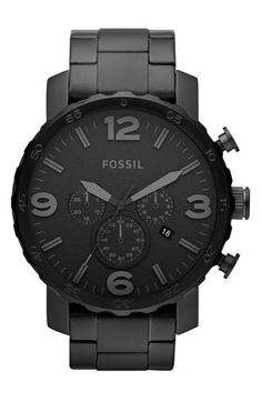 Free shipping and returns on Fossil 'Nate' Chronograph Bracelet Watch, 50mm at Nordstrom.com. An easy-to-read dial punctuated by a date window and chronograph subdials details a stainless steel three-hand watch with indented bezel edges and complementary bracelet.