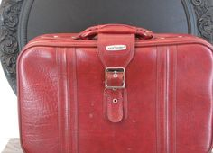 Red World Traveler Faux Leather Suitcase or Shoulder Bag (Strap Included), Monogram Interior - http://oleantravel.com/red-world-traveler-faux-leather-suitcase-or-shoulder-bag-strap-included-monogram-interior