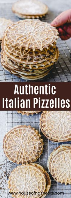 This Authentic Italian Pizzelle Recipe for the classic Itali. - This Authentic Italian Pizzelle Recipe for the classic Italian cookie includes anise extract and anise seeds for a truly traditional pizzelle flavor with a crunchy texture. Authentic Italian Pizzelle Recipe, Best Italian Cookie Recipe, Authentic Italian Pizza, Pizzelle Cookies, Anise Cookies, Italian Christmas Cookies, Italian Cookies, Crack Crackers, Recipes