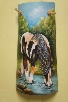 Painted Signs, Painted Rocks, Hand Painted, Clay Wall Art, Clay Art, Horse Canvas Painting, Horse Paintings, Painting Ceiling Fans, Pictures To Paint