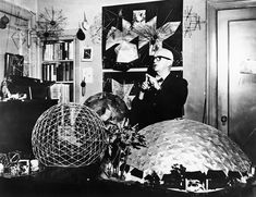 Buckminster Fuller in his study at the University of Southern Illinois, 1967 © RIBA Library Photographs Collection