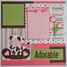 creative baby scrapbook pages   pages udderly adorable baby girl cows ...