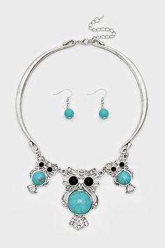Turquoise Owl Necklace on Emma Stine Limited