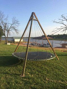Trampoline Turned Backyard Lounge Swing