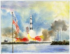 This watercolor of the Apollo 11 launch inspires the imagination.