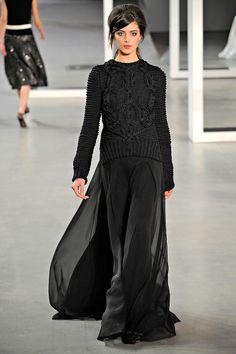 Derek Lam Fall 2012- 33      I love a sweater over  chiffon skirt.