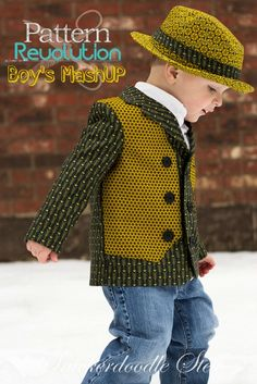 Boy's MashUP- Vest + Jacket = One Dapper Dude — Pattern Revolution Childrens Sewing Patterns, Kids Patterns, Sewing Projects For Kids, Sewing For Kids, Spencer Clothes, Vest Jacket, Blazer Vest, Boys Wear, Jacket Pattern