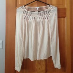 AEROPOSTALE Flowing Beige Shirt Description: Great top! Model is size Small so this is true to size as this felt tight on her! Condition: New with tags! Smoke free home! Ask questions before you purchase! Aeropostale Tops Blouses