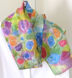 Silk scarf hand painted floral design by SilkDesignByJane on Etsy, $35.00