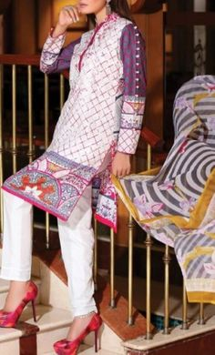 Shop beautifully stitched Cotton Lawn Dresses online and enjoy upto discount - finely stitched with embroidery work contact now at for more details Buy Salwar Kameez Online, Pakistani Salwar Kameez, Nice Dresses, Awesome Dresses, Pakistani Outfits, Dresses Online, Bridal Dresses, Summer Outfits, Women Wear