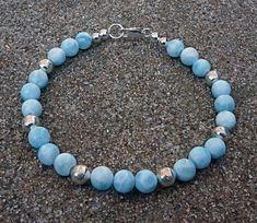 Grade AA+ Dominican Larimar & Fine Silver Bracelet by EurekaSpringsRocks on Etsy