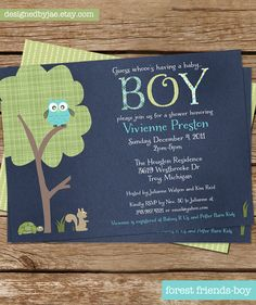Baby Boy Shower Invitation - Forest Friends - Owl - Baby Announcement - Blue
