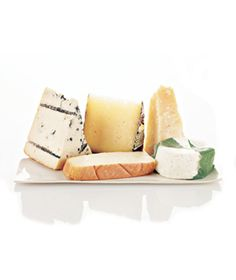 A perfect cheese plate contains one cheese from the five categories: Blue (Gorgonzola, Cashel Blue, or Stilton); Semifirm (Manchego, Fontina, or cave-aged Cheddar); Super-aged (Comté, aged Gouda, or Gruyère); Pungent (Taleggio, Èpoisses, or Livarot); and Mild (Fresh chèvre, Brie, or Camembert). Fullest flavor at room temp; serve with red/white wines, toasted baguettes or raisin walnut bread, grapes, apples, pears, figs, dried fruit, chutney, honey, sun-dried tomatoes, and dried sausage.