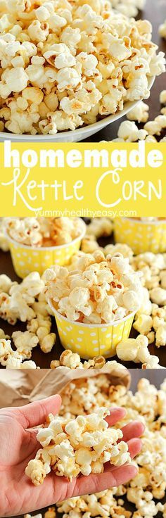 Homemade {lighter} Kettle Corn that tastes like you bought it at the state fair AND it's totally easy to make right at home! Only a few ingredients and a few minutes and you're enjoying kettle corn in the comfort of your home for cheap! Also, don't miss the popcorn roundup with just under 30 popcorn recipes for you to try!