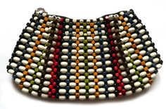 Small Czech 1930's clutch bag with wooden beads design, offered by Gillian Horsup Vintage Jewellery at Grays.
