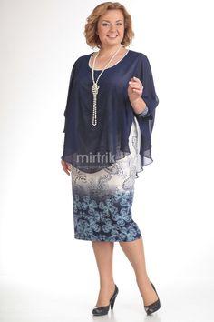 Модель 128 темно-синий+голубые-цветы Pretty Dress Plus Size, Plus Size Dresses, Dresses For Work, African Fashion Dresses, African Dress, Curvy Outfits, Dress Outfits, Curvy Fashion, Plus Size Fashion