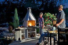 """Zahradní krb  """"Rohová sestava Avanta Exlusiv - grilování v noci / Gardenfireplace , Gartengrillkamin /"""