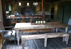 Rustic Dining Table Made From Reclaimed Wood With Matching Bench #Handmade