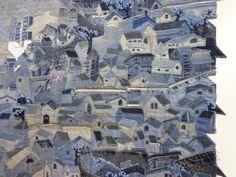 denim quilt little houses, village.  un détail du village en récup de jean !
