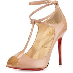"Christian Louboutin patent leather pump. 4"" covered heel. Peep-toe. T strap meets crisscross ankle strap. Adjustable ankle wrap strap. Tonal topstitching. Leat…"