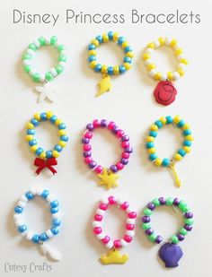 DIY Disney Princess bracelets from pony beads and shrinky dinks! #DreamParty #cbias #shop