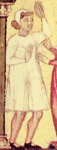 Man in a coif and shirt (camisa) with gussets at the hem, from the Cantigas de Santa Maria, Spain, mid-13th century.